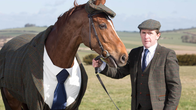 Horse dressed in tweed suit