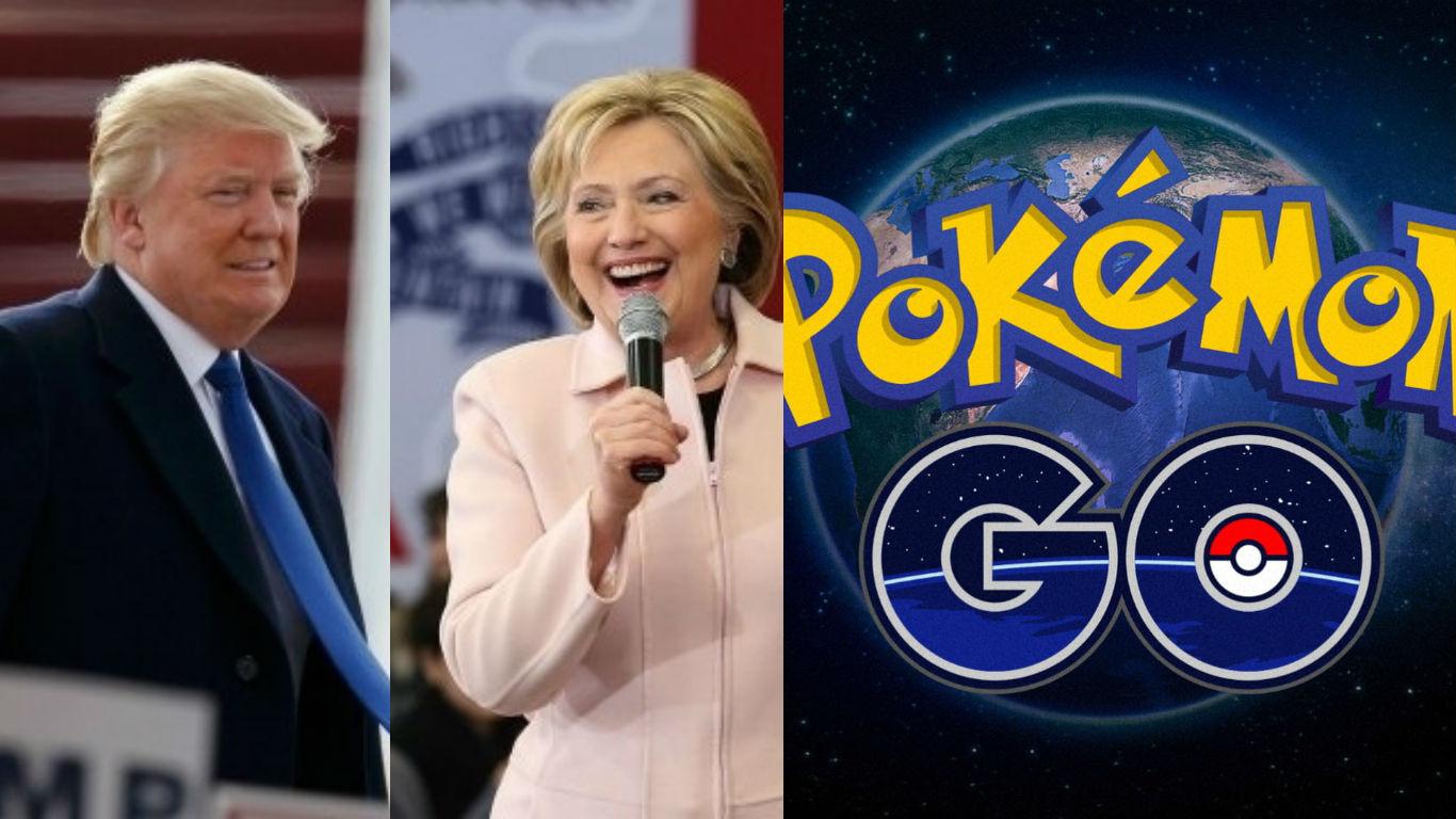 American presidential, Hillary Clinton, Donald Trump, Pokemon Go