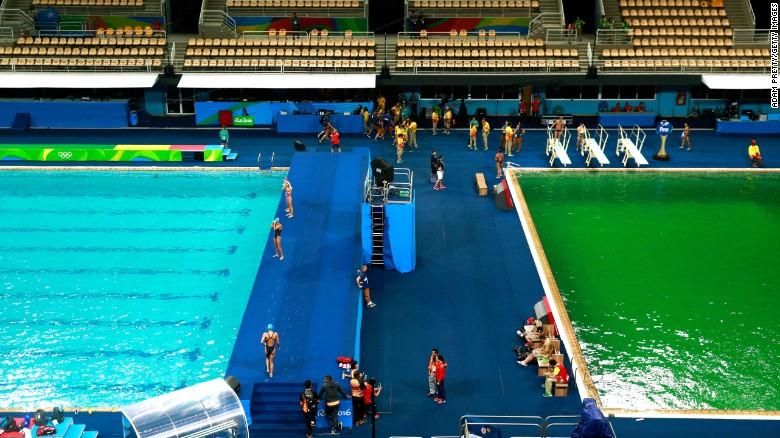 Rio2016, rio 2016, Olympics, Aquatics Centre, green, pool, swimming, diving, poolgate