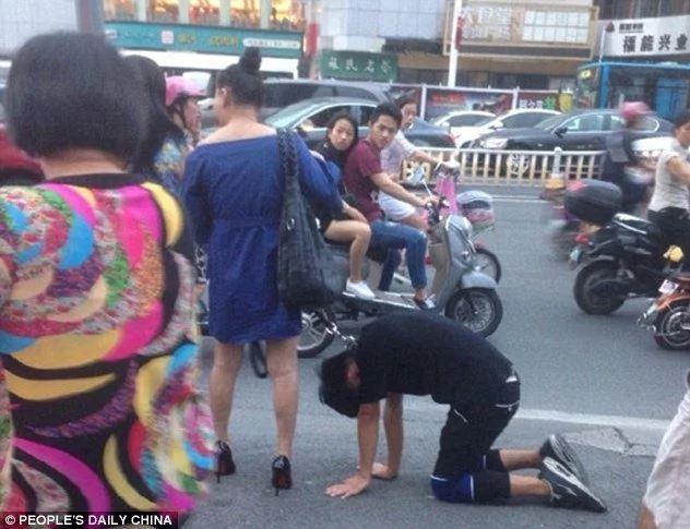 China, woman, man, dog leash