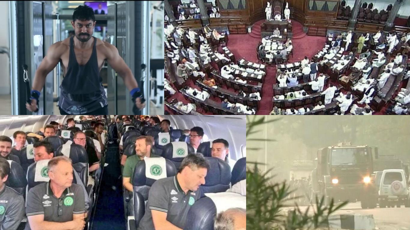 NewsMobile Mid-day wrap, Rajya sabha, prime minister, narendra modi, jammu, terrorist, attack, aamir khan, dangal, body transformation