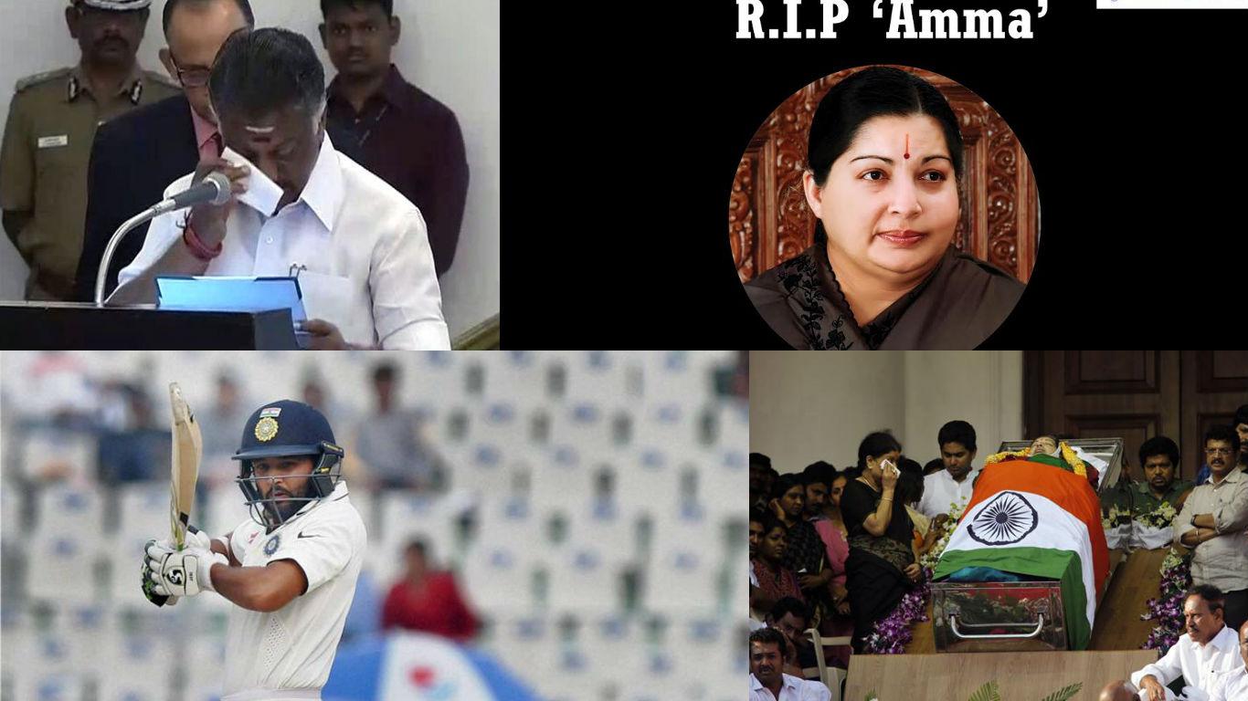NewsMobile Mid-day wrap, Jayalalithaa, Tamil Nadu Chief Minister, Panneerselvam, Ola, yes bank, demonetisation, Parthiv Patel, Third test, India, england