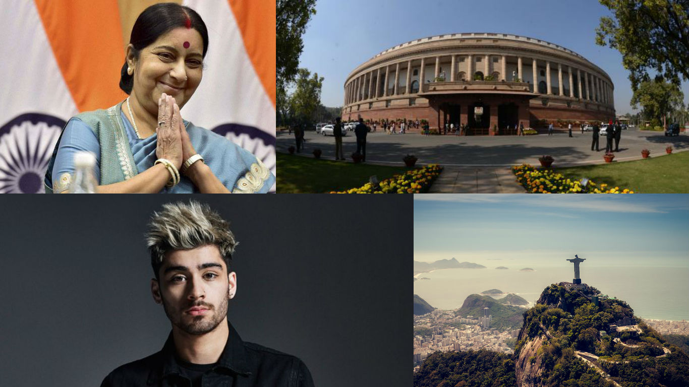 NewsMobile Mid-day wrap, Parliament, winter session, demonetisation, lok sabha, rajya sabha, Sushma Swaraj, Global Thinker, Raj Kapoor, Zayn Malik, sexiest asian, UNESCO, Rio