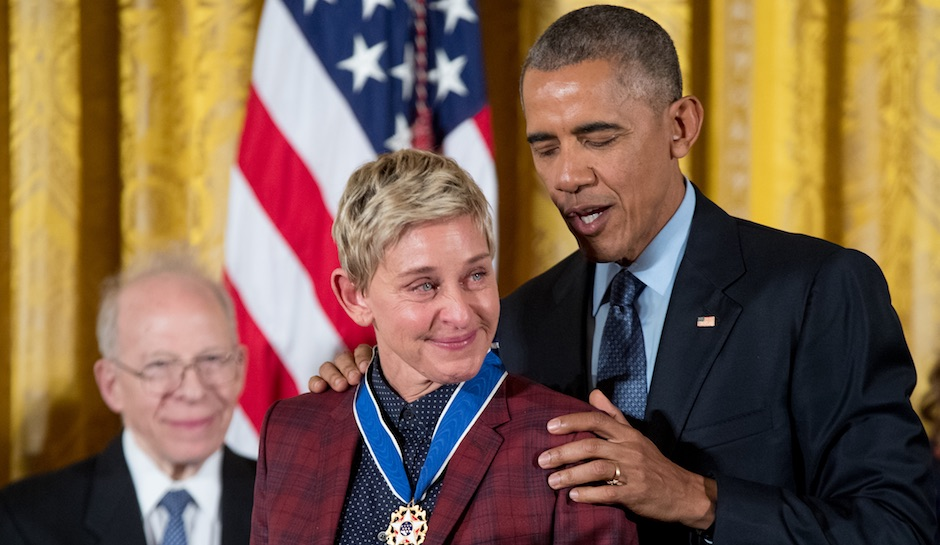 Ellen DeGeneresX Barack Obama and wife Michelle Obama.