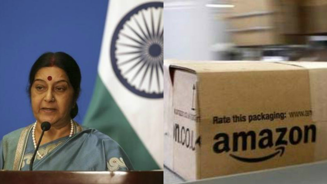 X Sushma SwarajX Minister of External Affairs TweetedX AmazonX Amazon CanadaX Indian flag.