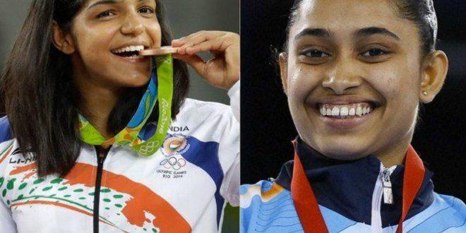 Dipa Karmakar, Sakshi Malik, Padma Shri Award, President Pranab MukherjeeX Vikas GowdaX Paralympian Mariyappan Thangavelu, Karnam Malleshwari, Mary Kom, Saina Nehwal., Olympic