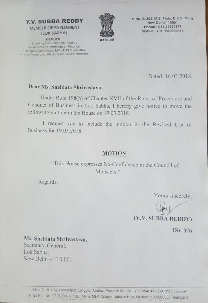 YSR Congress,Lok Sabha,no-confidence motion,Andhra Pradesh,special category status for AP,YV ubba Reddy,TDP, Telegu Desam Party,National Democratic Alliance, NDA,