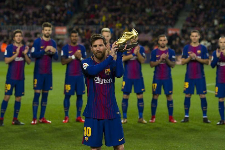 Lionel Messi, win, fifth, European Golden Shoe, La Liga, 34 goals, NewsMobile, Mobile News, Sports, India