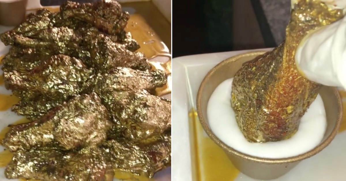 How about some chicken wings dusted with 24-carat gold?