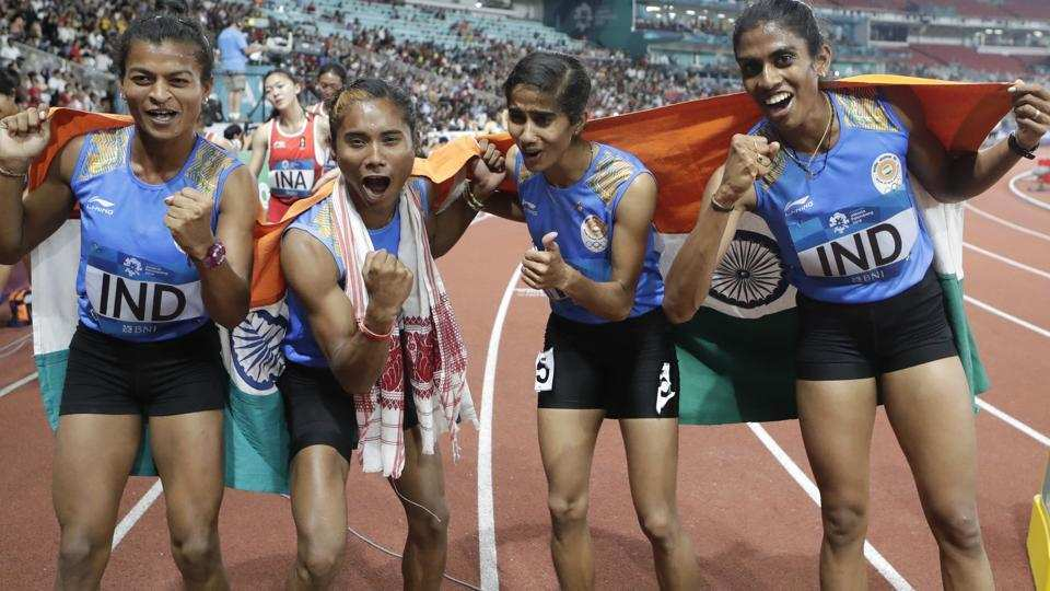 Asian Games 2018, India, gold, women, 4 x 400m, relay, Asiad, Sports, NewsMobile, Mobile News