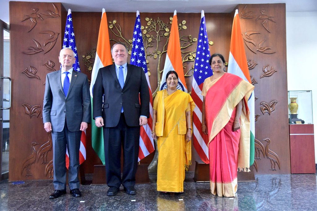 India-US, tone, future, partnership, 2+2 dialogue, United States, India, Prime Minister, Narendra Modi, Donald Trump, President, External Affairs Minister, Sushma Swaraj, Defence Minister, Nirmala Sitharaman, US Secretary of States, Michael R. Pompeo, US Secretary of Defence, James N. Mattis, NewsMobile, Mobile News, India