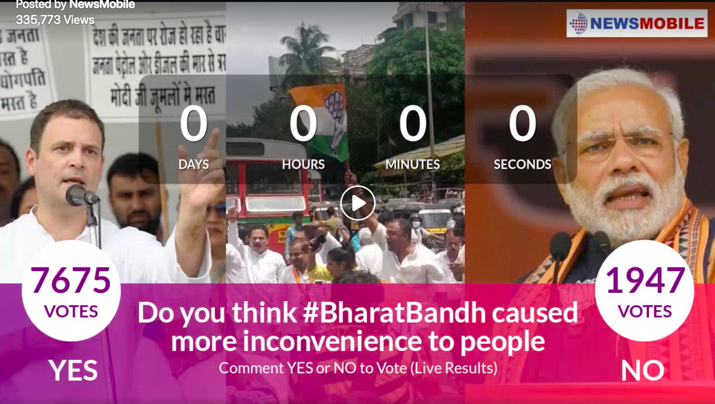 Facebook, Poll, Fuel Prices, Bandh, Bharat Bandh, Opposition, NewsMobile, Congress, BJP, Politics, Common Man, Mobile News, India