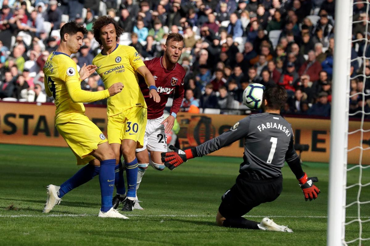 English Premiere League, Chelsea, West Ham, Lukasz Fabianski, Alvaro Morata, goalkeeper, Arsenal, Swansea