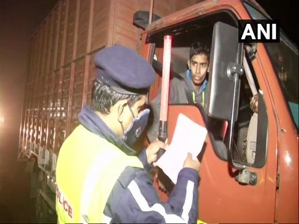 Checking of heavy vehicles conducted by police in Delhi