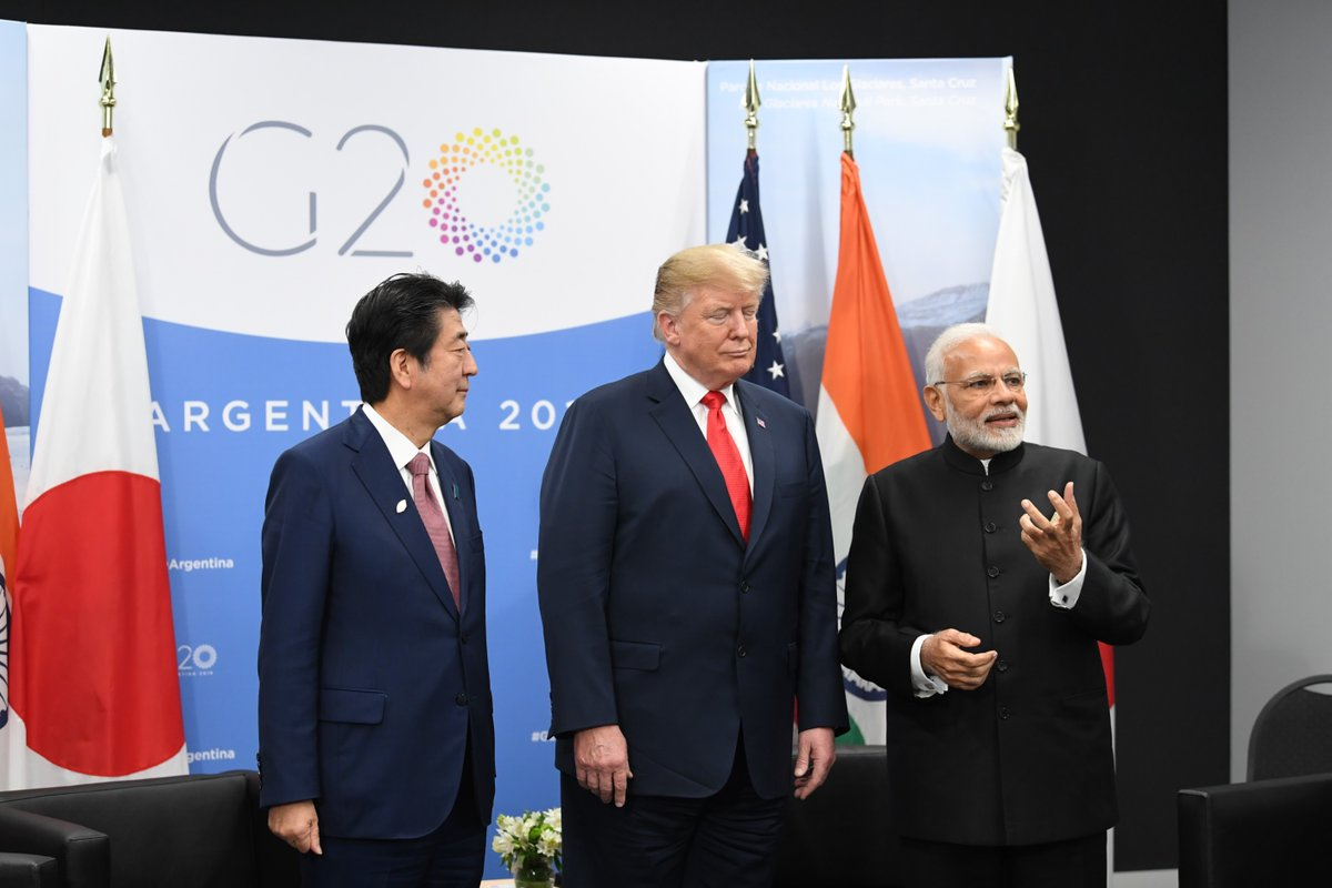 Japan, United States, India, Prime Minister, Narendra Modi, President, Donald Trump, Shinzo Abe, Argentina, G20 Summit, NewsMobile, Mobile, News, India