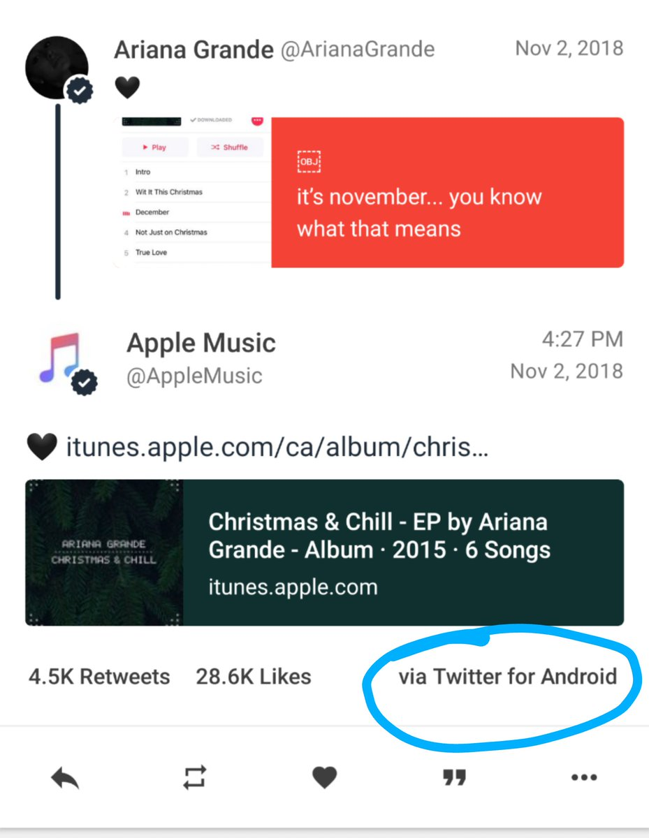 Oops!! Apple Music promoted album on Twitter via Android