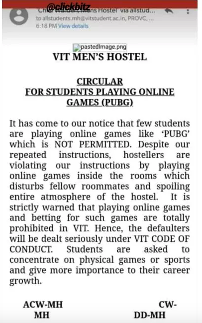This engineering college has banned PUBG in men's hostel