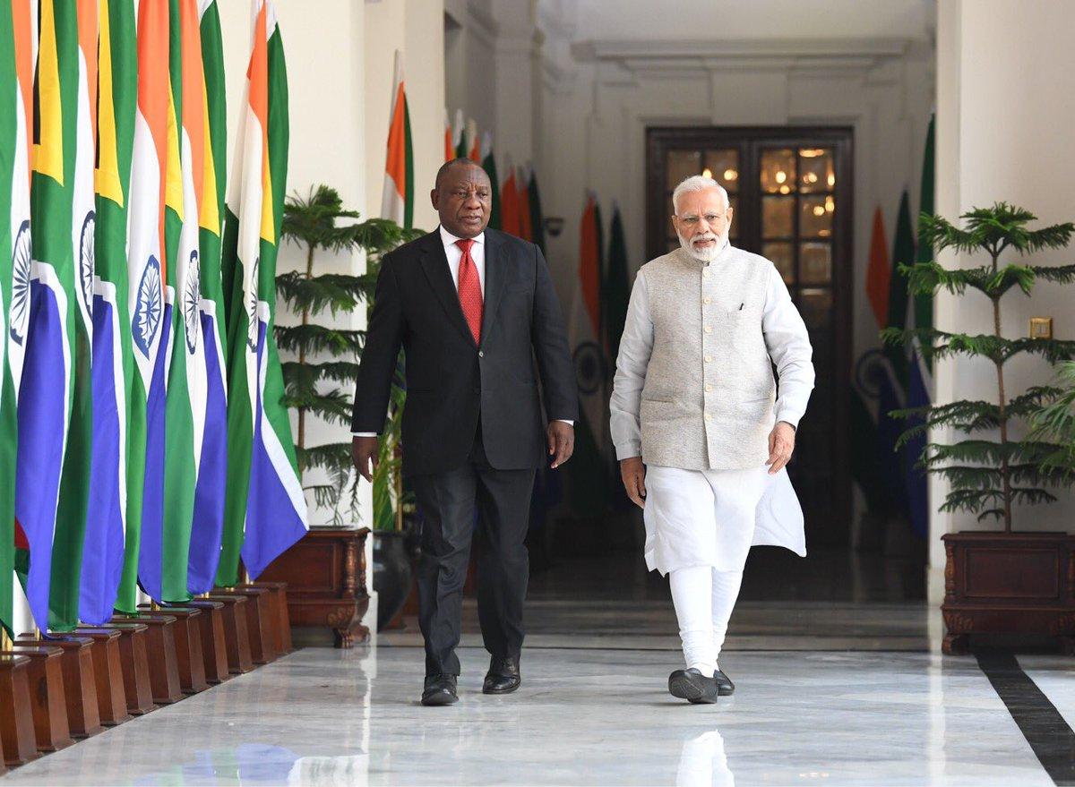 South Africa, President, Cyril Ramaphosa, Prime Minister, Narendra Modi, India, Visit, Hyderabad House, NewsMobile, Mobile, News, India