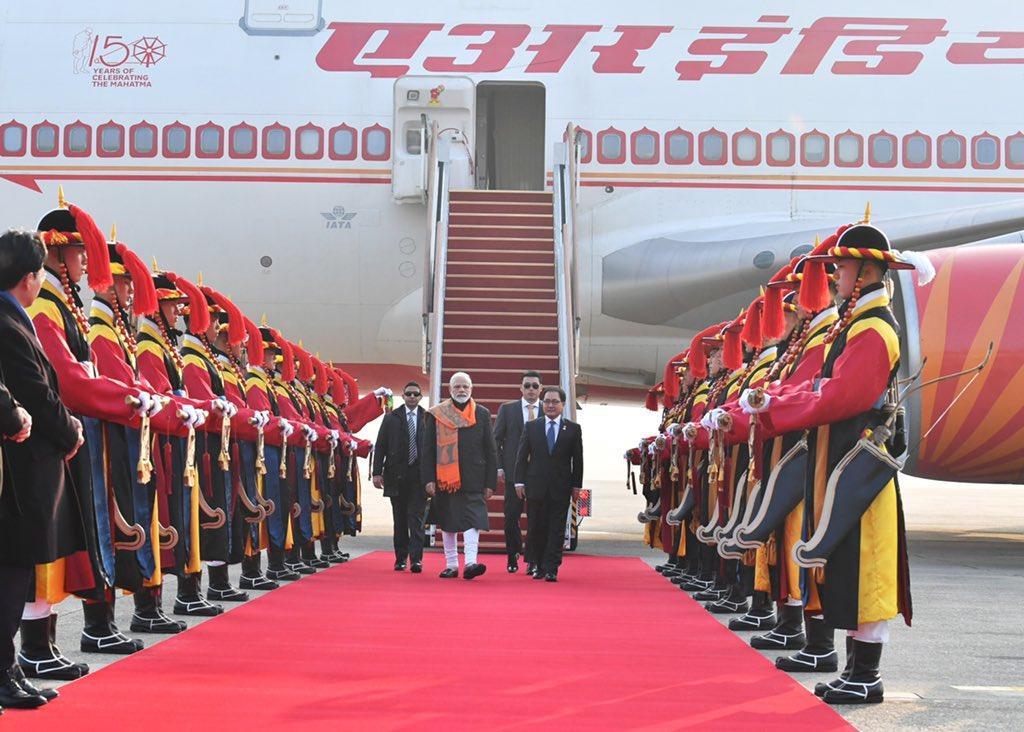 PM Modi arrives at South Korea