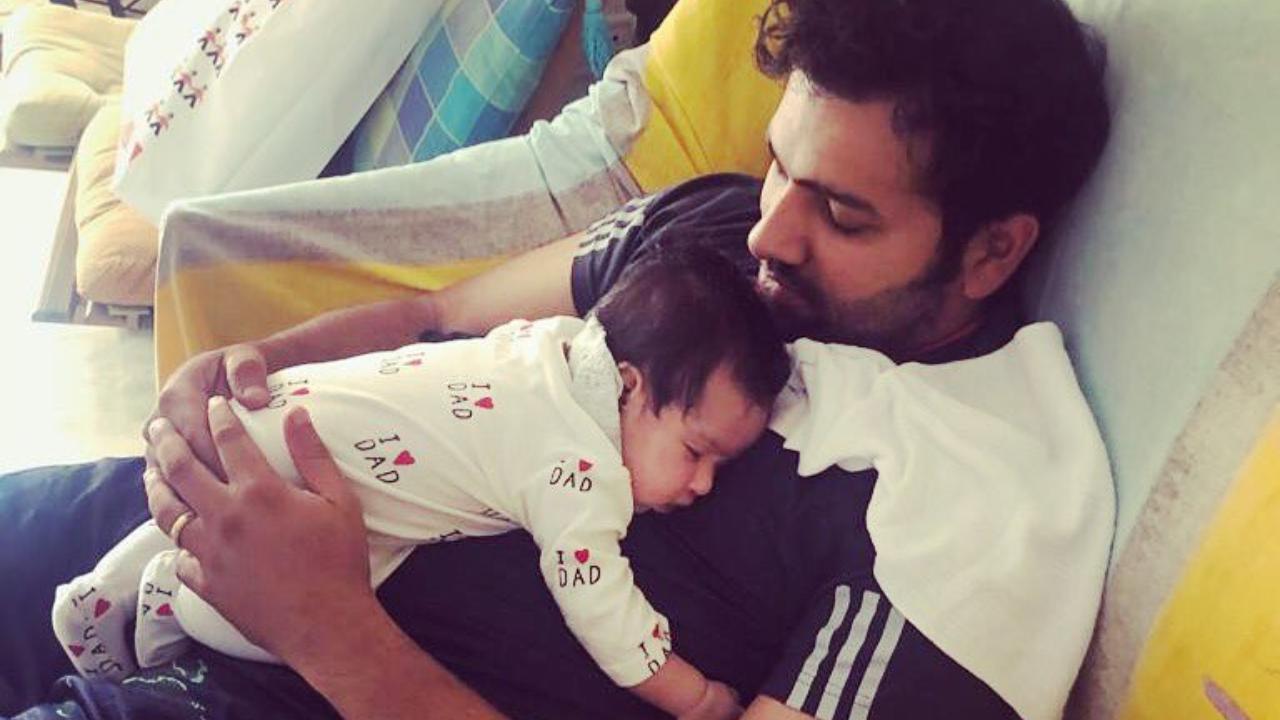 Rohit Sharma with daughter Samaira