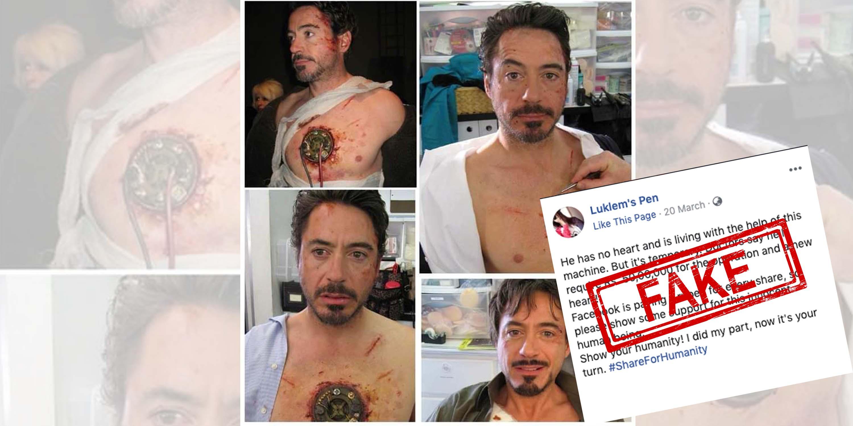 Robert Downey Jr., Iron Man, Fake, Heart, NewsMobile, Mobile, news, India, Fact Check, Fact Checker, Fake News