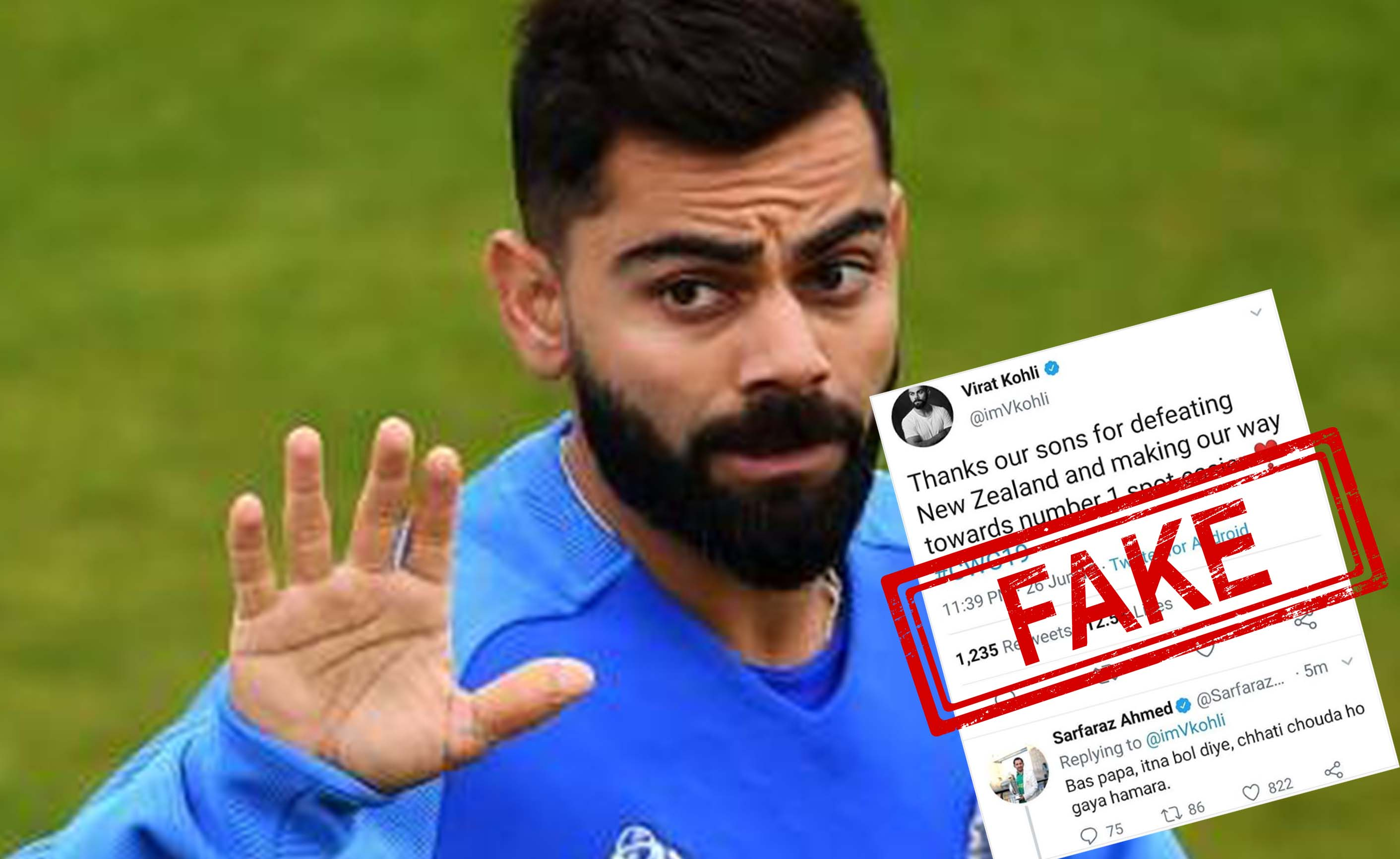 Virat Kohli, New Zealand, Sarfaraz Ahmed, Cricket, NewsMobile, Mobile, news, Sports, Fact Check, Fact Checker, FAKE