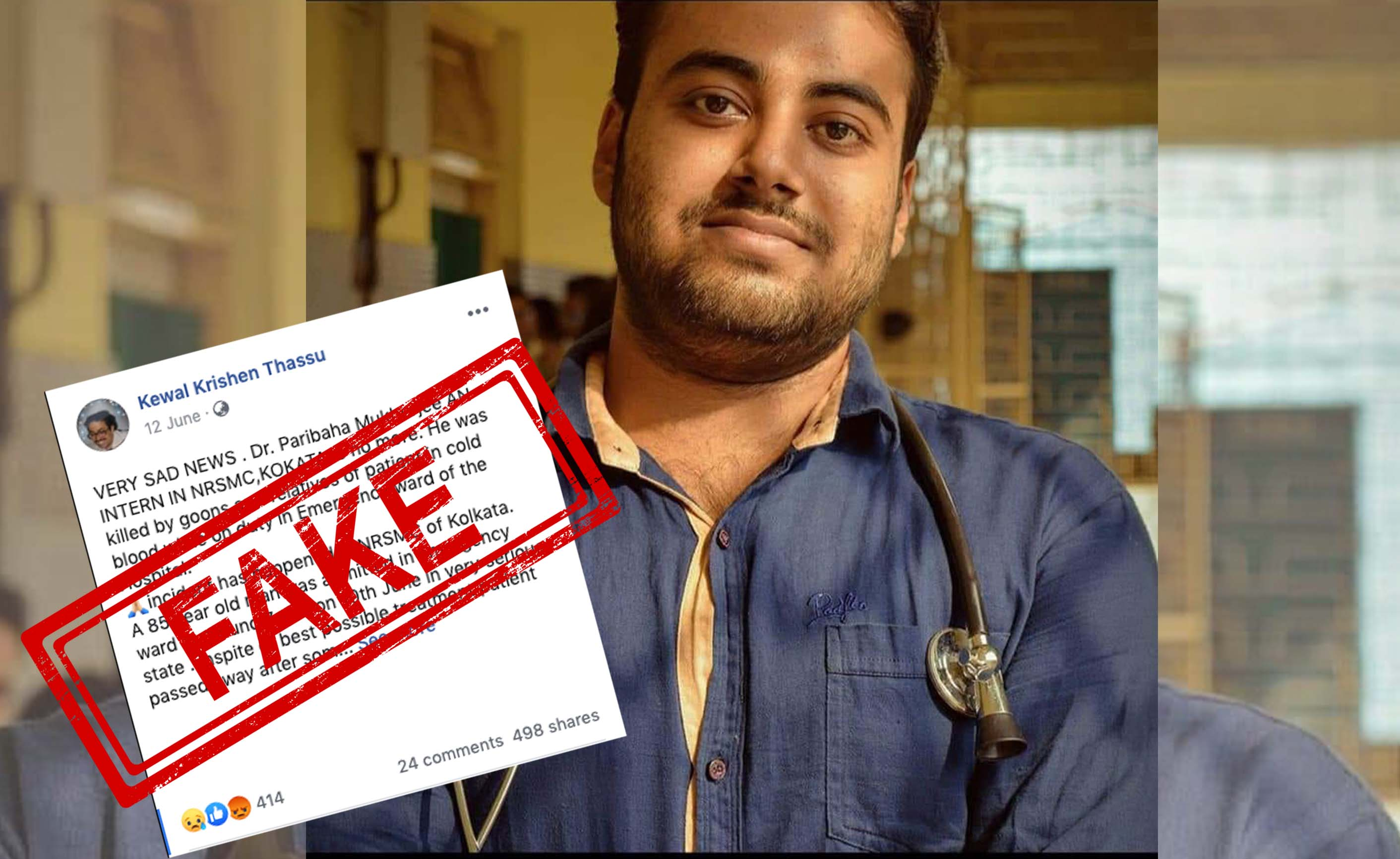 Dr Paribaha Mukherjee, NRSM, COLLEGE, HOSPITAL, Doctor, Assult, Patient, NewsMobile, Fact Check, Fact Checker, Fake, News, India