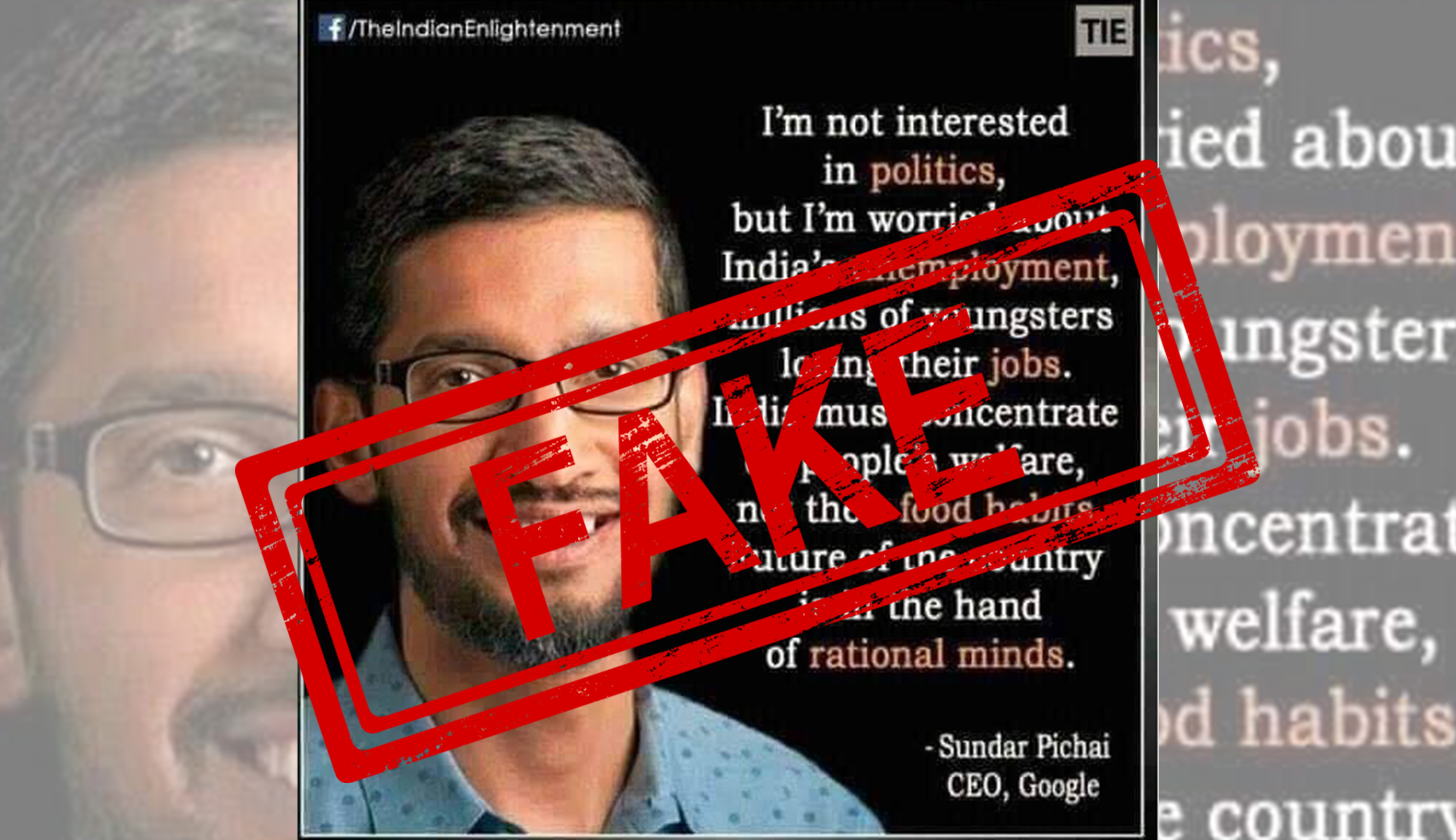 Google, CEO, Sundar Pichai, Viral, Quote, NewsMobile, Mobile News, India, Fact Check, Fact Checker, FAKE