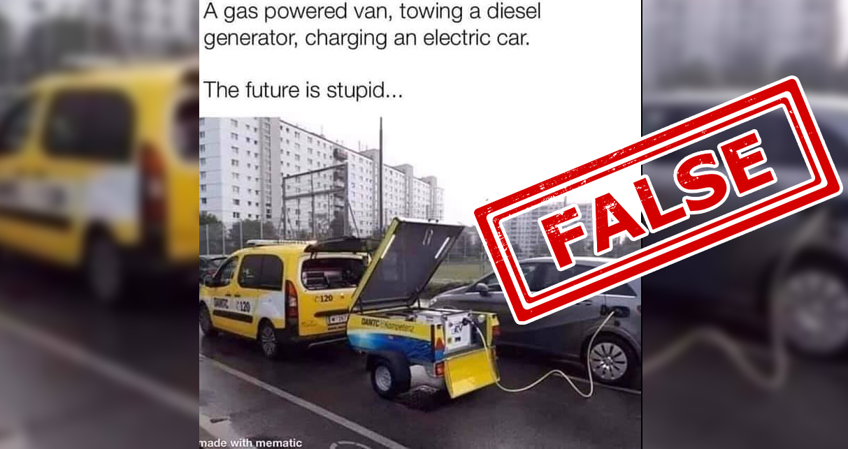 Diesel Generator Charging An Electric Car Here S The Truth Behind This Viral Picture Newsmobile
