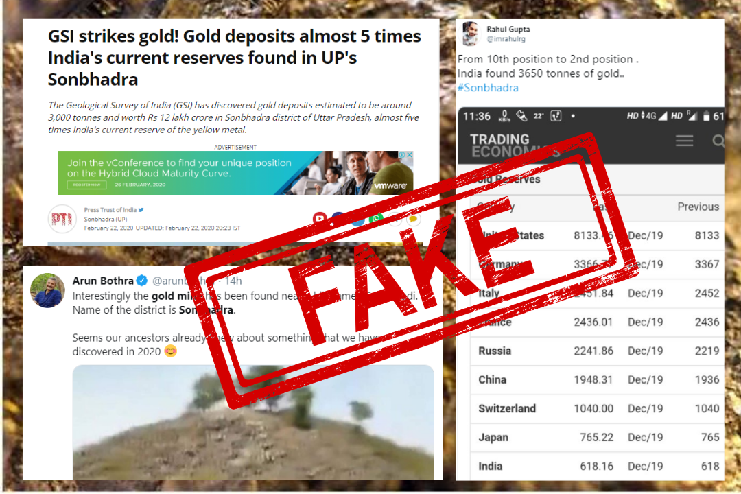 Uttar Pradesh, Sonbhadra, Geological Survey of India, Gold Mines, NewsMobile, Fact Check, Fake News