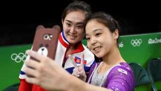 Rio2016, Olympics, North Korea, South Korea, Selfie, Gymnastics