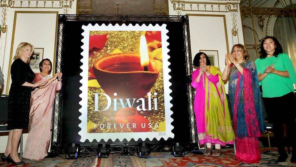 Diwali stamp, New York, America, Indian-Americans, Indian Consulate, Riva Ganguly Das, Congresswoman Carolyn Maloney, Diwali Stamp Project Chair Ranju Batra, USPS Vice President for Mail Entry and Payment Technology Pritha Mehra, India's former Permanent Representative to the United Nations Ambassador Hardeep Singh Puri and eminent Indian-American attorney Ravi Batra.