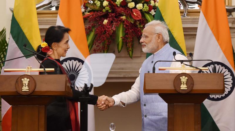 Aung San Suu Kyi, Narendra Modi, Myanmar, India,