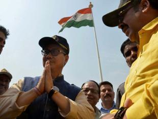 Union minister, Kiren Rijiju, 107-foot tall tricolour, Indo-Pak border, Attari-Wagah