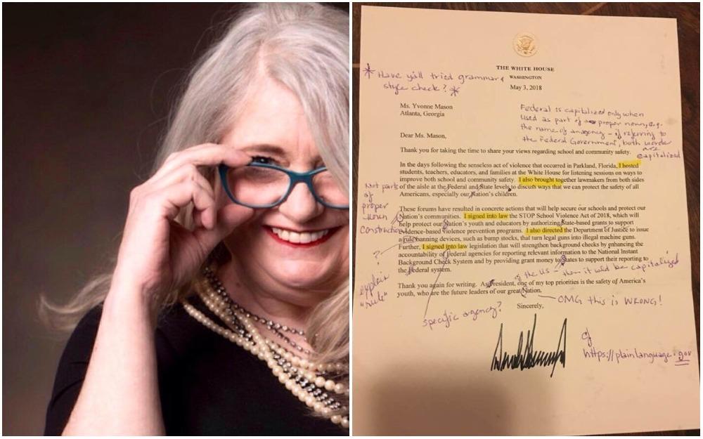 Retired, English, teacher, correct, letter, US President, United States, White House, Donald Trump, NewsMobile, Mobile news, India,