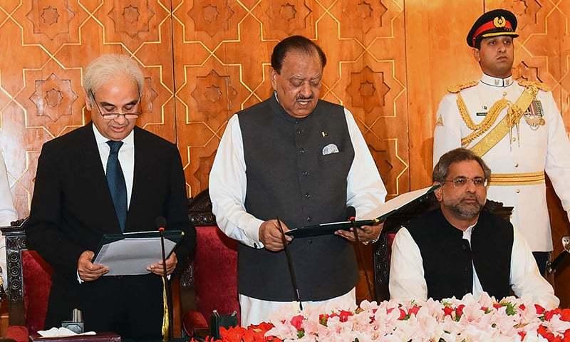 Pakistan,Nasir-ul-Mulk,Mamnoon Hussain,Shahid Khaqan Abbasi,Pervez Musharraf, Supreme Court judge,PML-N,National Assembly,elections,Khursheed Shah, Chief Justice of Pakistan, Interim PM, Pakistan Prime Minister