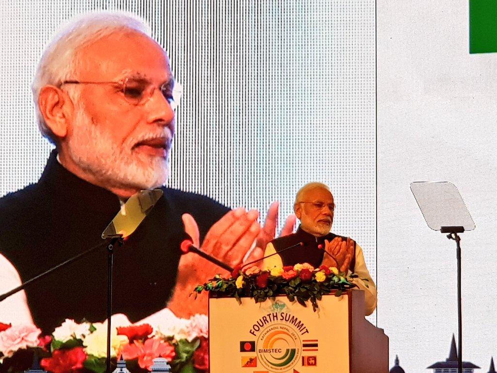PM Modi, urges, BIMSTEC, members, Kathmandu, Nepal, Bangladesh, Sri Lanka, Bhutan, India, NewsMobile, Mobile News