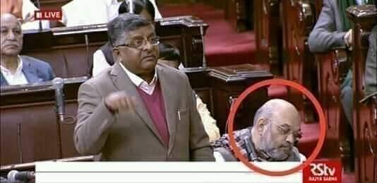 Amit Shah, Sleeping, Parliament, Ravi Shankar Prasad, Newsmobile, Mobile, News,, India, Fact Check, Fact Checker, Fake,