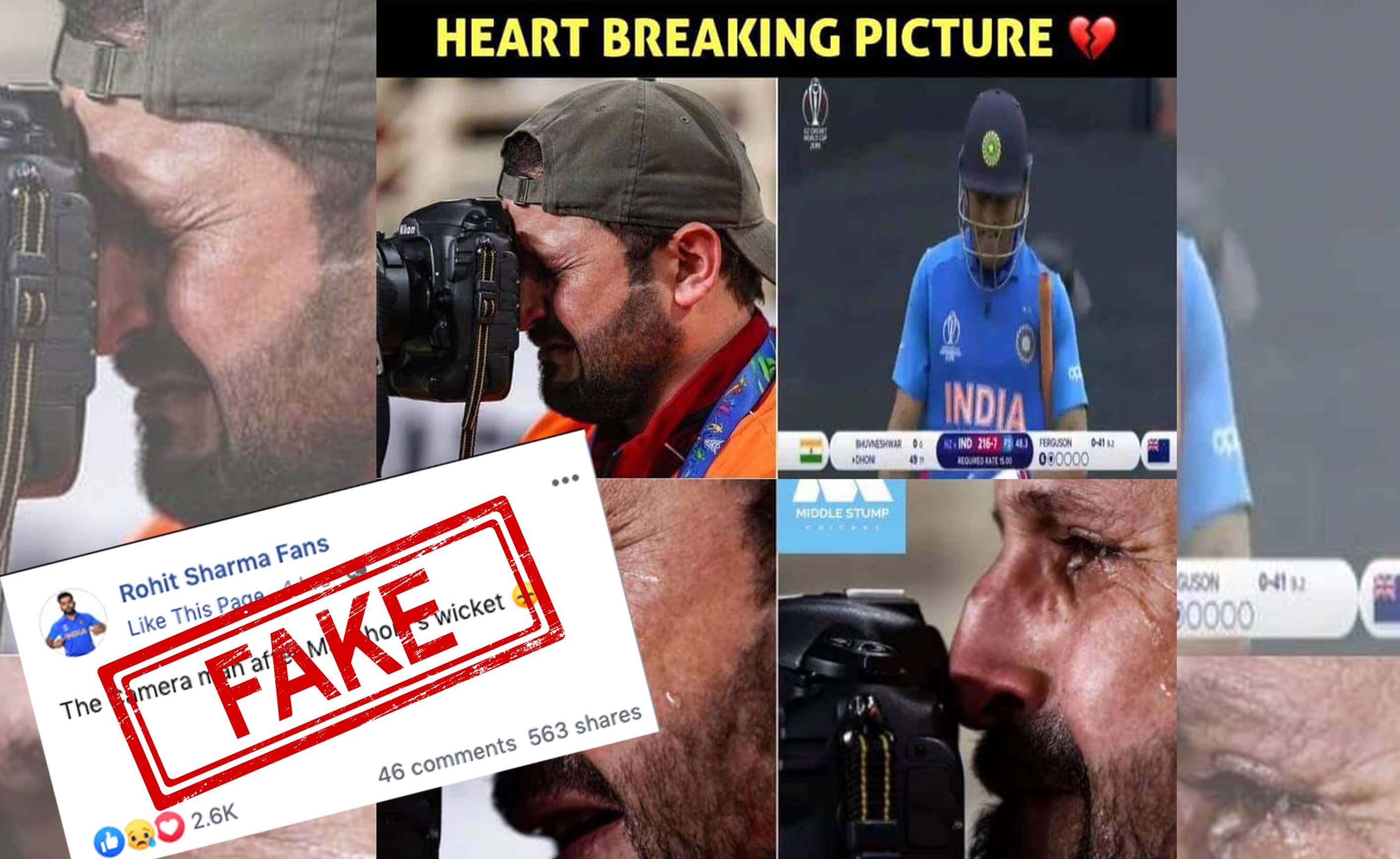 MS Dhoni, Run out, Semi Final, World Cup, 2019, NewsMobile, Mobile, News, India, Photographer, Crying, Fact Check, Fact Checker, FAKE