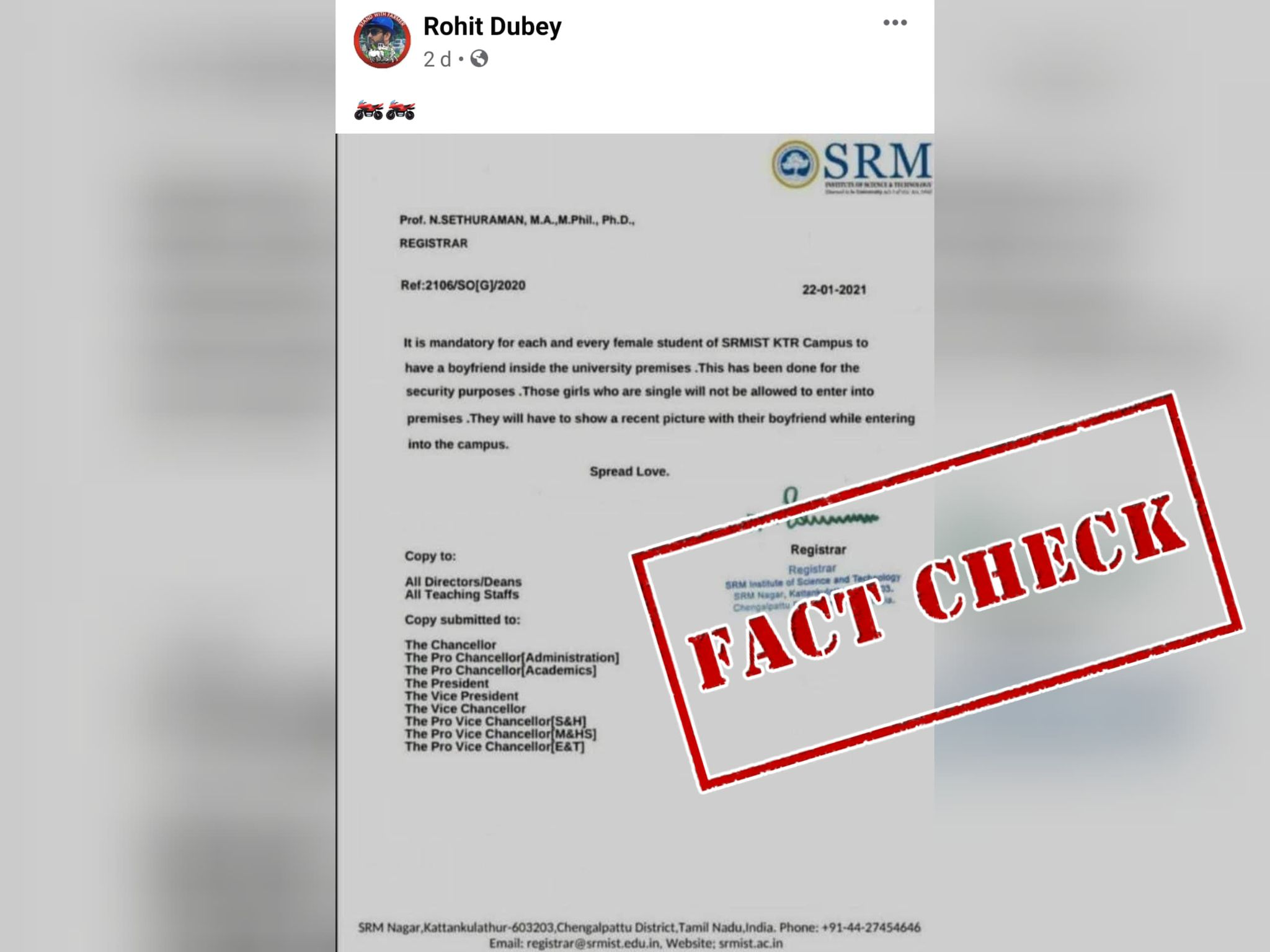 Fact Check: No, Chennai's SRM College Did Not Issue Circular Asking Girls To Mandatorily Have A Boyfriend; Here's The Truth