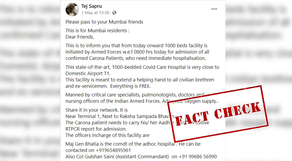 Fact Check: Have Armed Forces Set Up A 1,000-Bed COVID-19 Facility Near Mumbai Airport? Here's The Truth